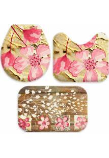 Jogo Tapate Love Decors Para Banheiro Beautiful Pink Único - Kanui