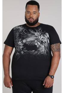 Camiseta Masculina Plus Size Com Estampa De Folhagem Manga Curta Gola Careca Preta
