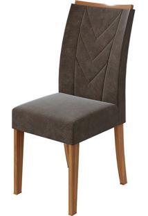 Cadeira Atacama Velvet Chocolate Rovere Naturale
