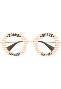 Gucci Eyewear Óculos De Sol Redondo Com Detalhe De Listras - Metálico