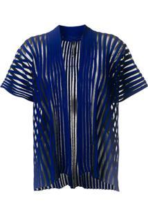 Pierantoniogaspari Cardigan Com Aplicação De Listras - Azul