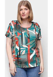 Blusa Wee! Plus Size Básica Floral Feminina - Feminino-Bege