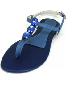 Sandália Teodora'S Couro Pedras Azul