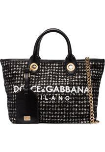 Dolce & Gabbana Bolsa Tote De Tweed Com Logo - Preto