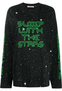 Christopher Kane Camiseta Mangas Longas Sleep With The Stars - Preto