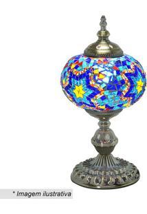 Abajur- Ouro Velho & Azul- 36,5X18X18Cm- Bivolt