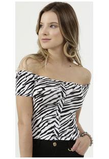 Blusa Feminina Cropped Ciganinha Estampa Animal Print