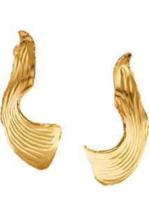 Oscar De La Renta Par De Brincos Molten Leaf - Dourado