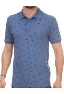 Camisa Pau A Pique Polo Masculina - Masculino-Azul