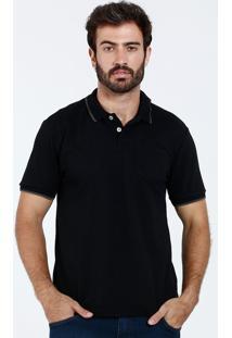 Camisa Polo Masculina Manga Curta Bolso Marisa