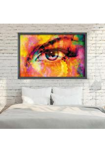 Quadro Love Decor Com Moldura Woman'S Look Grafitti Metalizado Médio