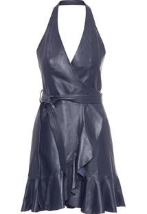 Vestido Couro Babado Doble - Azul Marinho