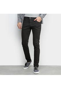 Calça Sarja Grifle Skinny Color Masculina - Masculino-Preto