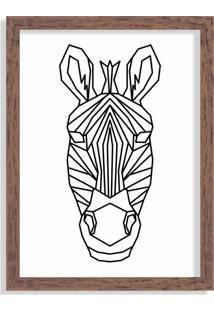 Quadro Decorativo Line Drawing Zebra Madeira - Médio