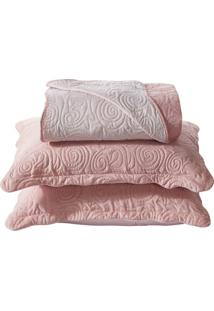 Colcha Matelassê Queen 3 Peças - Home Collection - Appel - Rosa Balé
