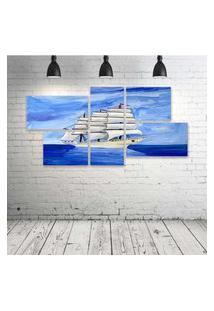 Quadro Decorativo - Barco-Ocean-Blue-(2) - Composto De 5 Quadros