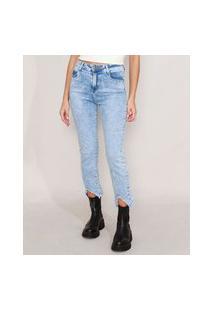 Calça Reta Jeans Marmorizada Com Barra Degrau Cintura Alta Sawary Azul Claro