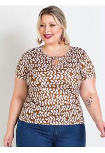Blusa Folhagem Com Amarração Plus Size