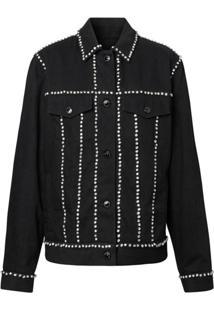 Burberry Crystal Embellished Denim Jacket - Preto
