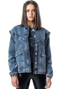 Jaqueta Azul Jeans Manga Removível