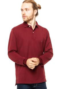 Camisa Polo Manga Longa Tommy Hilfiger Regular Fit Fashion Vinho