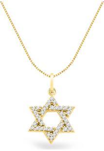 Pingente Estrela De Davi Ouro Amarelo E Diamantes 19 Mm