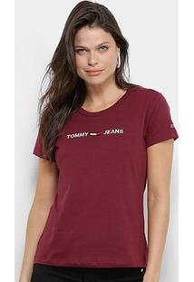 Camiseta Tommy Jeans Logo Feminina - Feminino-Bordô