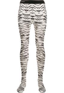 Laneus Meia-Calça Com Estampa De Zebra - Branco