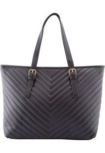 Bolsa Shopping Bag Stz Matelassê Geométrico Preto -
