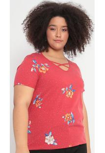 Blusa Com Tiras Cruzadas- Vermelha & Azul- Malweemalwee