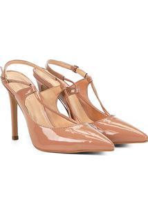 Scarpin Shoestock Salto Alto Tiras - Feminino-Nude