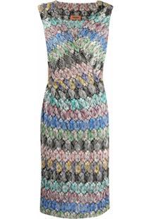 Missoni Vestido De Crochê E Tricô - Azul