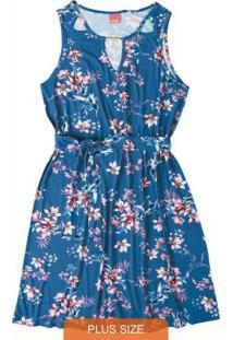 Vestido Azul Curto Floral Wee!