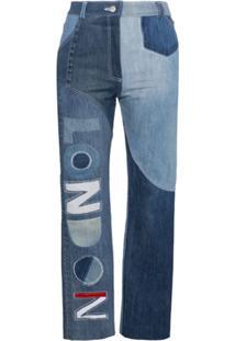Ronald Van Der Kemp Calça Jeans 'London' Com Patchwork E Cintura Alta - Azul