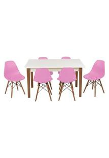 Conjunto Mesa De Jantar Luiza 135Cm Branca Com 6 Cadeiras Eames Eiffel - Rosa