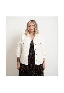 Jaqueta De Pelo Com Detalhes Em Sarja Curve & Plus Size   Ashua Curve E Plus Size   Branco   G