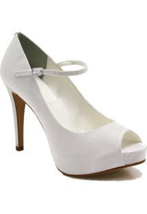 b0ec73f0b6 ... Sapato Peep Toe Zariff Shoes Noivas - Feminino-Branco