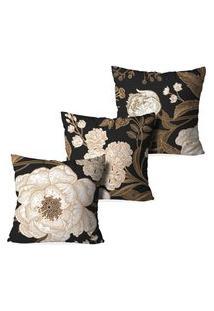 Kit 3 Capas Para Almofadas Decorativas Love Decor Floral Classic Marrom