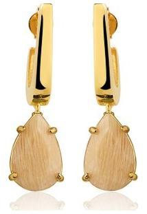 Brinco Toque De Joia Mini Anzol Amazonita Nude - Feminino-Dourado
