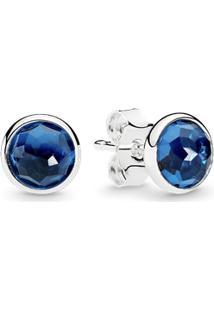 Brinco Gota De Cristal Azul Topázio - Dezembro