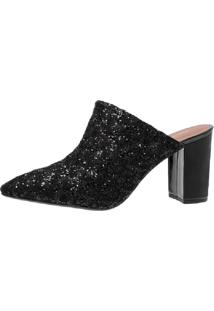 Scarpin Mule Di Scarp Calçados Rendado Salto Grosso (7,5 Cm) - Glitter Preto - Tricae