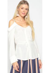Blusa Texturizada Com Ombros Vazados- Off White- Skuskunk