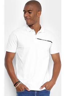 Camisa Polo Calvin Klein Estampada Logo Masculina - Masculino-Branco