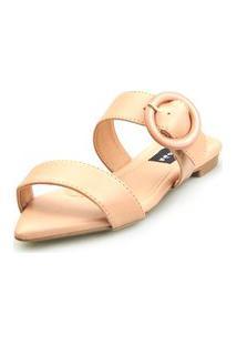 Sandalia Love Shoes Rasteira Bico Folha Básica Fivela Abs Nude