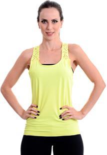Camiseta Fitness Areia Branca Regata Laser Cut Amarela