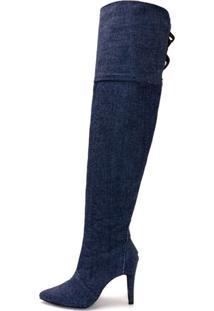 Bota Over Salto Fino Cano Alto Feminina Jeans - Kanui
