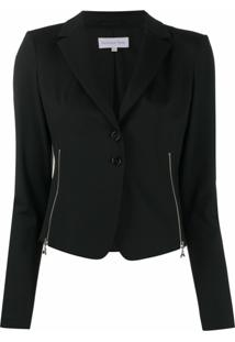 Patrizia Pepe Side Zips Fitted Blazer - Preto