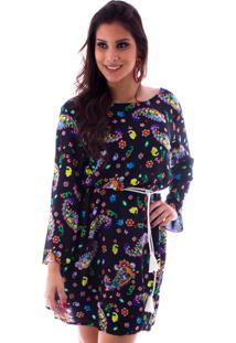 Vestido Lon Camisete Floral Preto