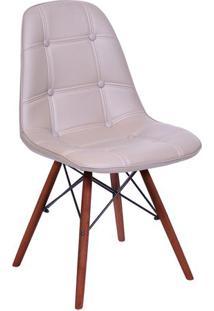 Cadeira Eames Botonãª- Fendi & Madeira Escura- 83X44Xor Design