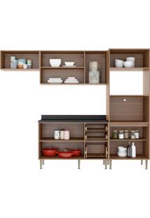 Cozinha Compacta Multimoveis Calabria 5457 Nogueira Se